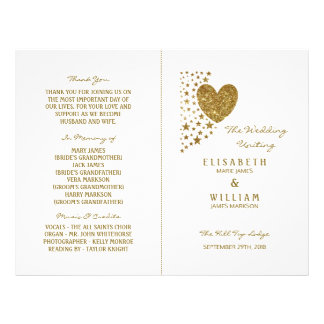 Gold Glitter Heart & Stars Wedding Bi-fold Program Flyer