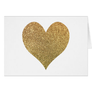 Gold Glitter Heart Thank You Card