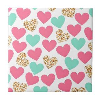Gold Glitter Heart Valentines Day Love Ceramic Tiles