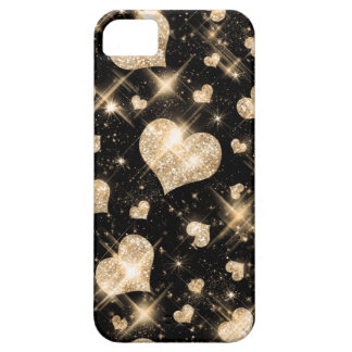 Gold Glitter Hearts iPhone 5 Cover