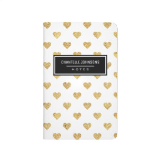 Gold glitter hearts journals