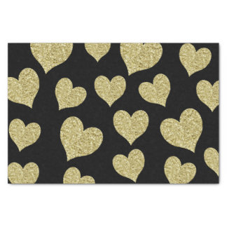 Gold Glitter Hearts on Black Tissue Paper
