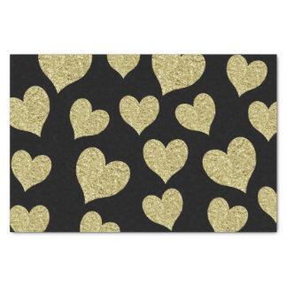 Gold Glitter Hearts on Black Tissue Paper