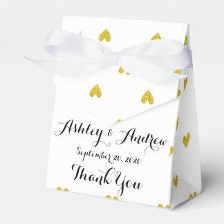 Gold Glitter Hearts Pattern Favor Box