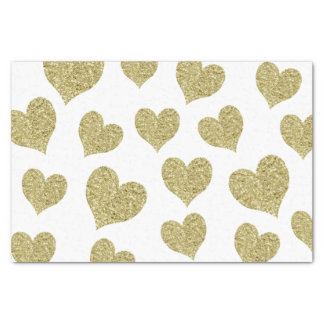 Gold Glitter Hearts Tissue Paper