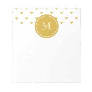 Gold Glitter Hearts with Monogram Notepad