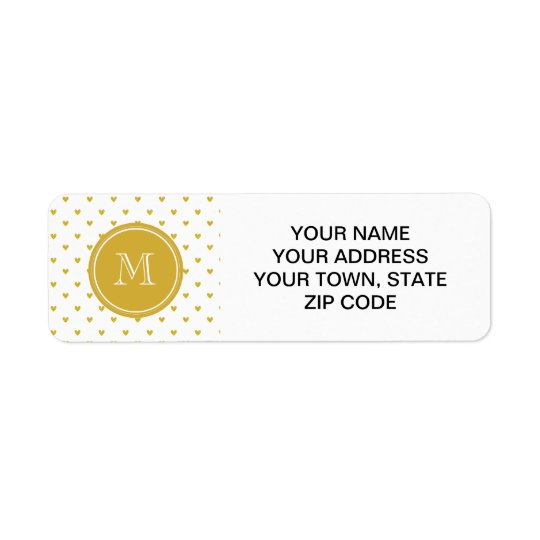 Gold Glitter Hearts with Monogram Return Address Label