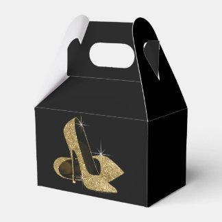 Gold Glitter High Heel Shoe Favor Box