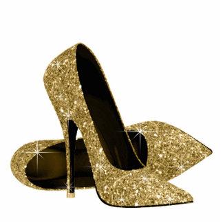 Gold Glitter High Heel Shoes Photo Sculpture