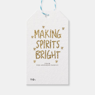 GOLD GLITTER holiday christmas Gift Tags