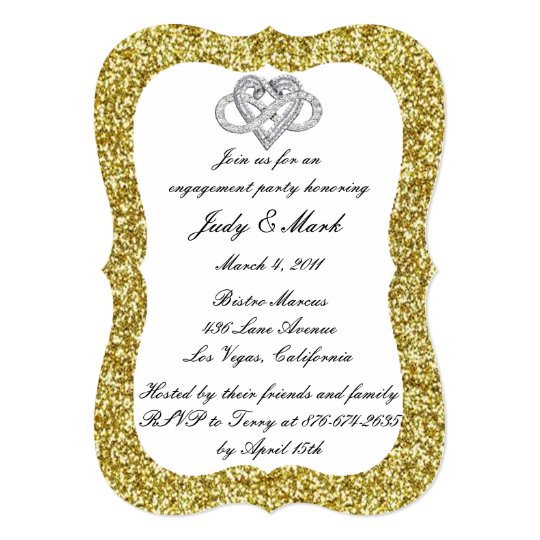Gold Glitter Infinity Heart Engagement Party Card