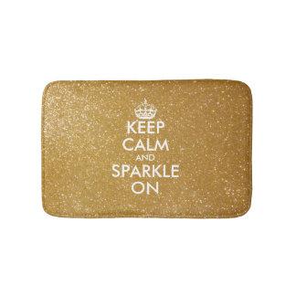 Gold glitter keep calm and sparkle on bath mat