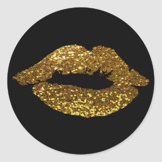 Gold Glitter Kiss on Black Background Stickers
