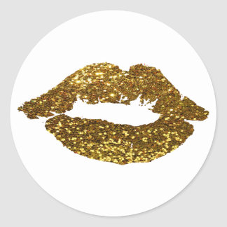 Gold Glitter Kiss on White Background Stickers