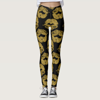 Gold Glitter Kisses Leggings