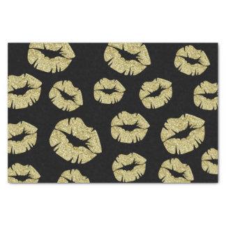 Gold Glitter Kisses on Black Tissue Paper
