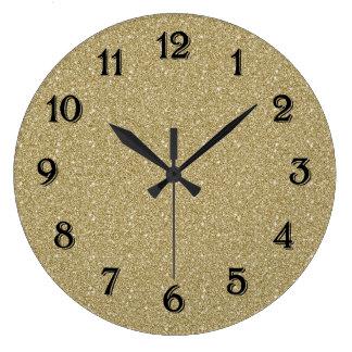 Gold Glitter Large Clock