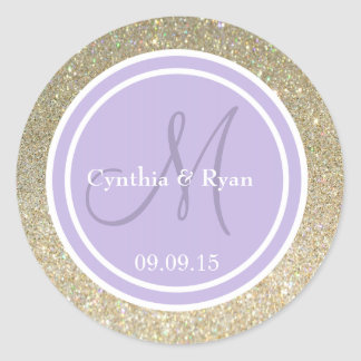Gold Glitter & Lavender Wedding Monogram Round Sticker