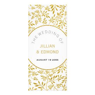 Gold glitter leaves pattern wedding program