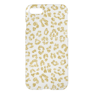 Gold Glitter Leopard Clear iPhone 8/7 Case