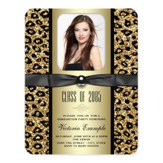 Gold Glitter Leopard Graduation Announcement