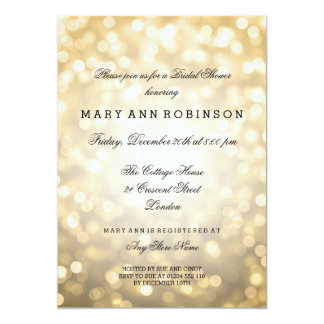 Gold Glitter Lights Elegant Bridal Shower Card