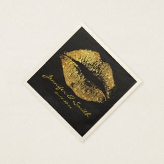 Gold Glitter Lips #2 Disposable Napkins