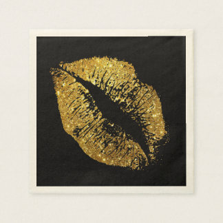 Gold Glitter Lips #3 Disposable Napkins