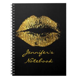 Gold Glitter Lips #3 Note Books