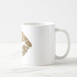 Gold glitter lips, luxury style coffee mug