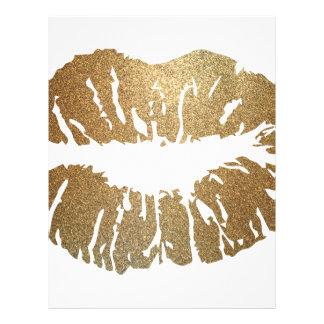 Gold glitter lips, luxury style letterhead