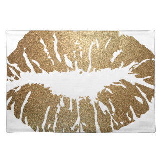 Gold glitter lips, luxury style placemat