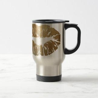 Gold glitter lips, luxury style travel mug