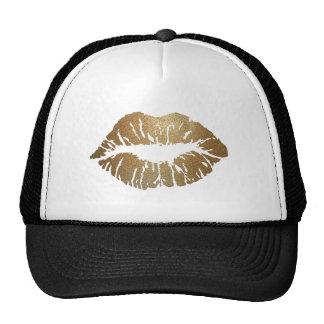 Gold glitter lips, luxury style trucker hat