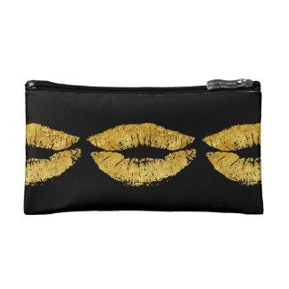 Gold glitter lips print pattern on black cosmetic bag
