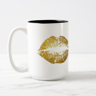 Gold Glitter Lips Two-Tone Coffee Mug