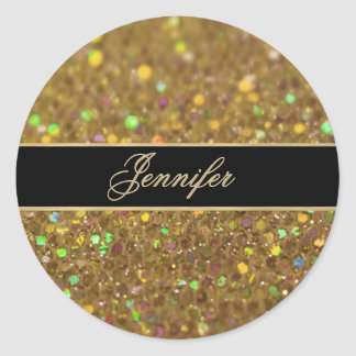 Gold Glitter Look Artwork Classic Round Sticker