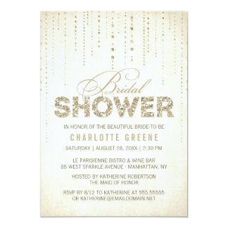 Gold Glitter Look Bridal Shower Invitation