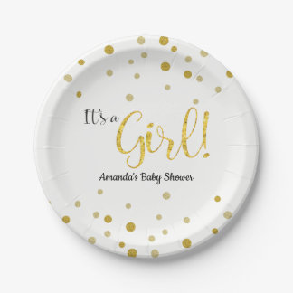 Gold Glitter Look Sparkle Baby Shower Paper Plate