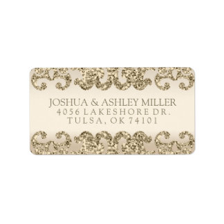 Gold Glitter Look Wedding Label