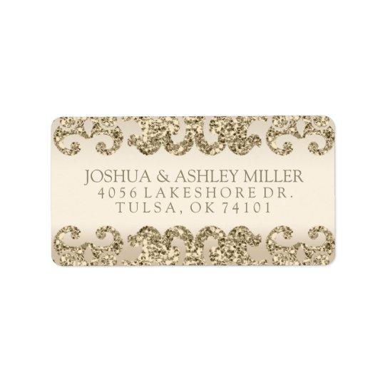 Gold Glitter Look Wedding Label