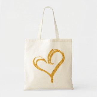 Gold Glitter Love Heart Modern Wedding Tote