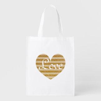 Gold glitter love heart reusable shopping tote bag