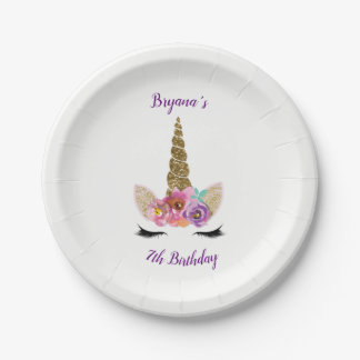 Gold Glitter Magical Unicorn Horn Birthday Party Paper Plate
