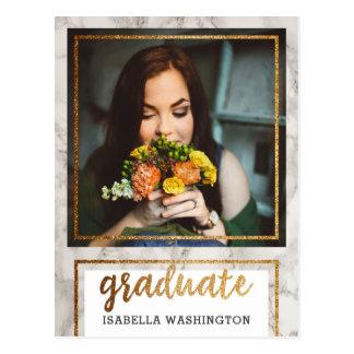 Gold Glitter & Marble Photo Graduation Party Postcard