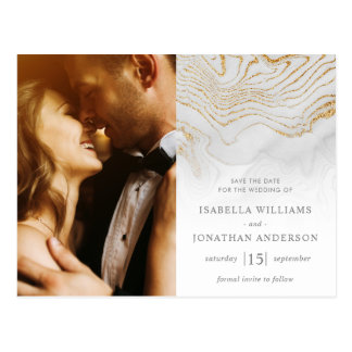 Gold Glitter Marble Wedding Save The Date Postcard