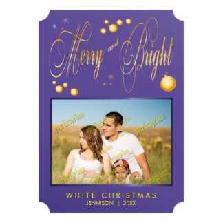 Gold Glitter Merry and Bright Family Photo Card