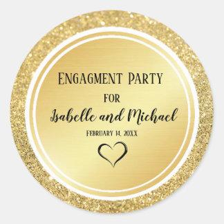 Gold Glitter & Metallic Engagement Envelope Seal