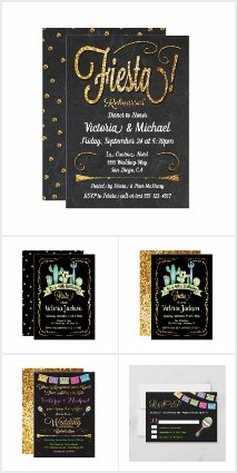 Gold Glitter Mexican Invitations