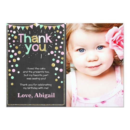 Gold Glitter Mint Pink Birthday Thank You Card